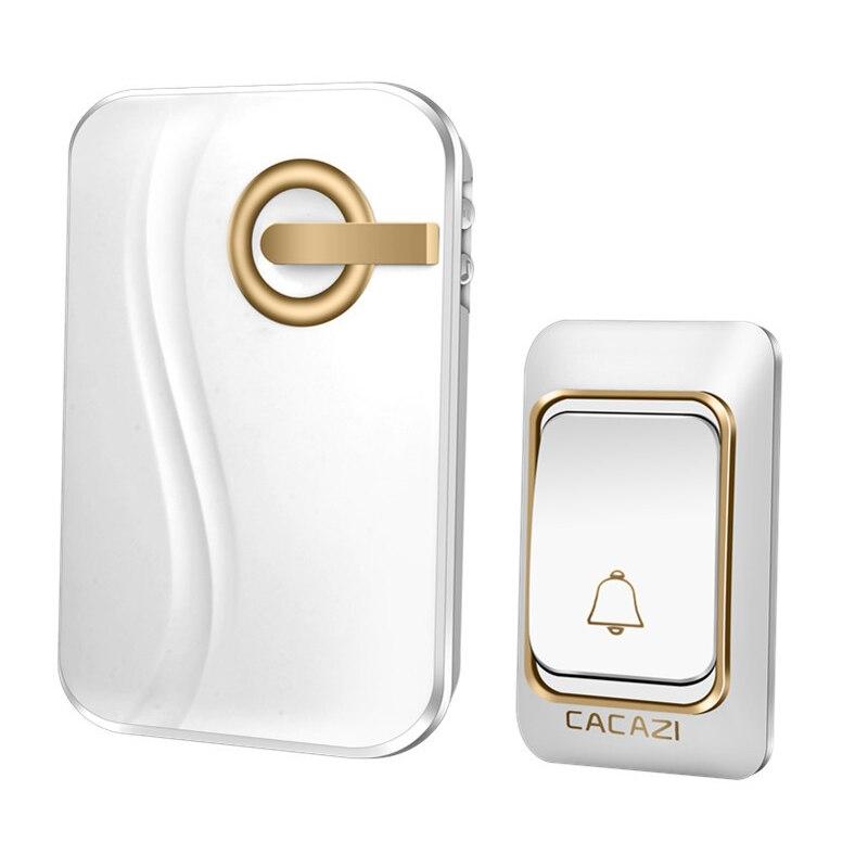 Pila para timbre inalámbrico Cacazi de 200M, con control remoto, resistente al agua, 1 transmisor, 1 receptor, 36 anillos, timbre de puerta inalámbrico