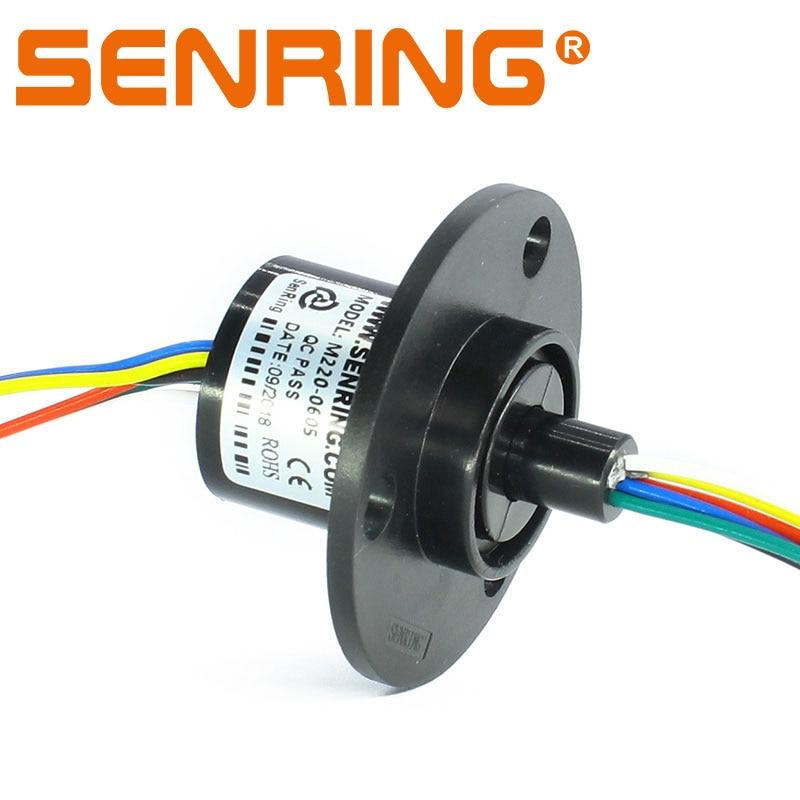 Unión rotativa, mini anillo deslizante con brida 22mm de diámetro exterior 6 maneras 5A suministro de transferencia de corriente