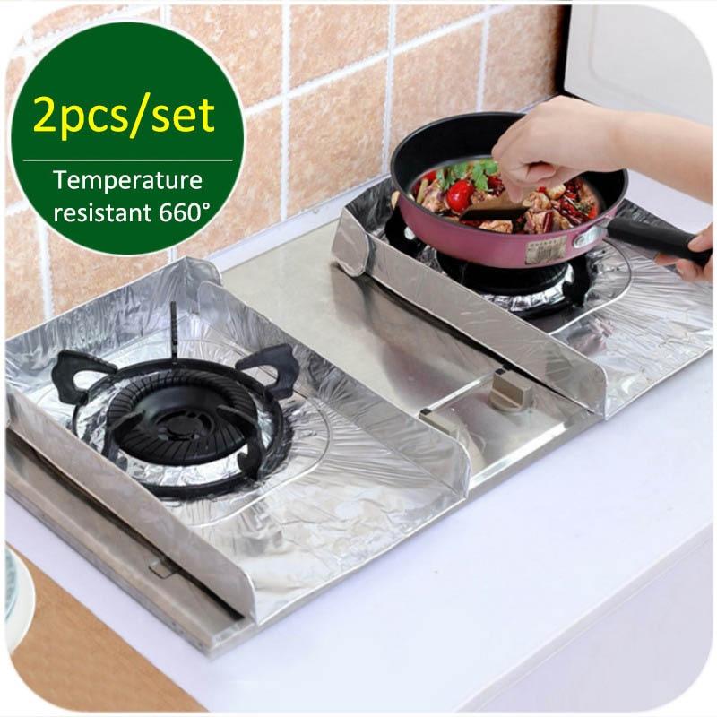 Placa deflectora plegable de 2 uds., almohadilla para estufa de Gas, Gadgets de cocina, lámina de aluminio, herramientas de cocina antiaceite, alfombrilla protectora, almohadillas aislantes