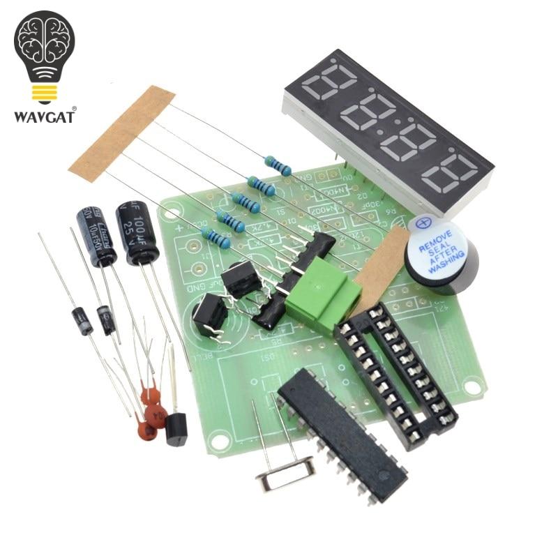 WAVGAT AT89C2051 Digital 4 Bits reloj electrónico producción electrónica Suite DIY Kit