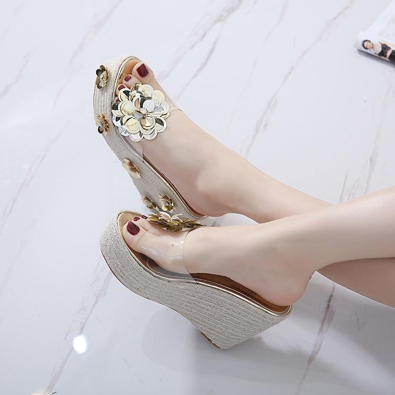 Moraima Snc 2019 nuevo diseño abril mujer Zapatillas cuñas alta plataforma moda sandalia diapositivas flores decoración oro plata dama diapositivas