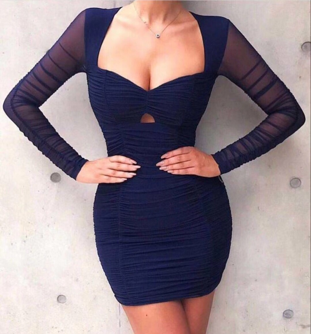Women Navy Blue Long Mesh Sleeve Stretch Rayon Bandage Dress Top Quality Lady Evening Party Sexy Bodycon Dress