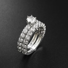 2 stks/set Paar Trouwringen voor Vrouwen en Man Mode Rhinestone Engagement Ring Set Vrouwelijke Anniversary Gift Sieraden