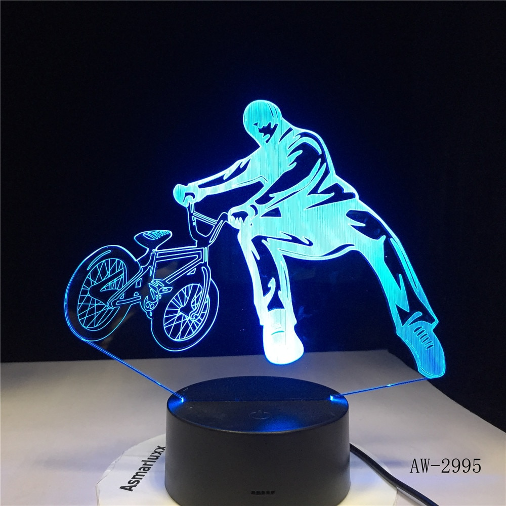 3D BMX Trickster lámpara de mesa decoración de cabecera bicicleta límite movimiento luz de noche LED 7 colores cambio dormir iluminación regalos AW-2995