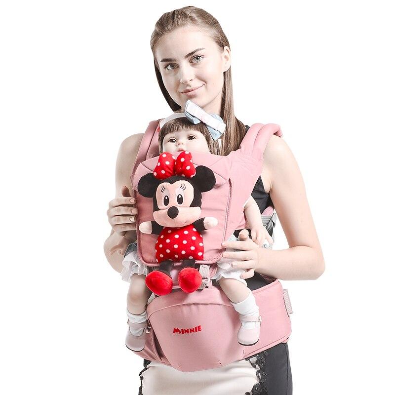 Dibujos animados de Disney 0-36 meses transpirable frente al bebé portador cómodo cabestrillo mochila bolsa envuelto portabebés