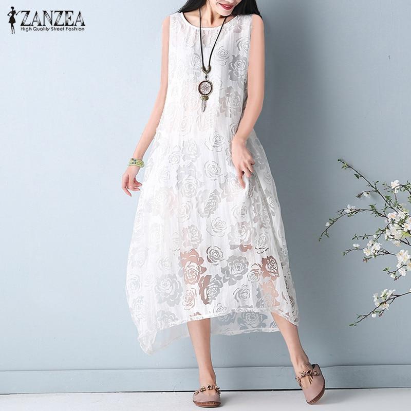 2020 ZANZEA Summer Women Lace Crochet Floral Sleeveless Vest Long Dress Round Neck Loose Casual Solid Party Dress Plus Size