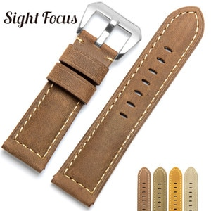 22mm 24mm 26mm Handmade Men's Watch Band for Panerai Crazy Horse Calf Leather Replacement Watch Straps Bands Bracelet Male Belt