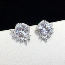 925 silver super flesh Zircon Sleek minimalist square zircon Earring Geometric Cubic Zirconia Push-back Earring for Ladies