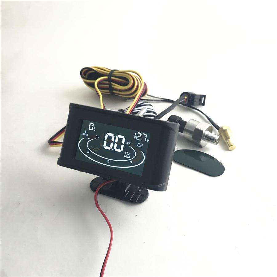 3 em 1 pressão de óleo/voltímetro tensão/medidor de temperatura da água emperature sensor parafuso: m10, sensor de pressão de óleo: 1/8 npt