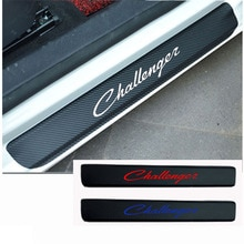 2PCS Carbon Fiber Vinyl Welcome Pedals Sill Guards sticker car door sill sticker for Dodge Challenger Car accessories