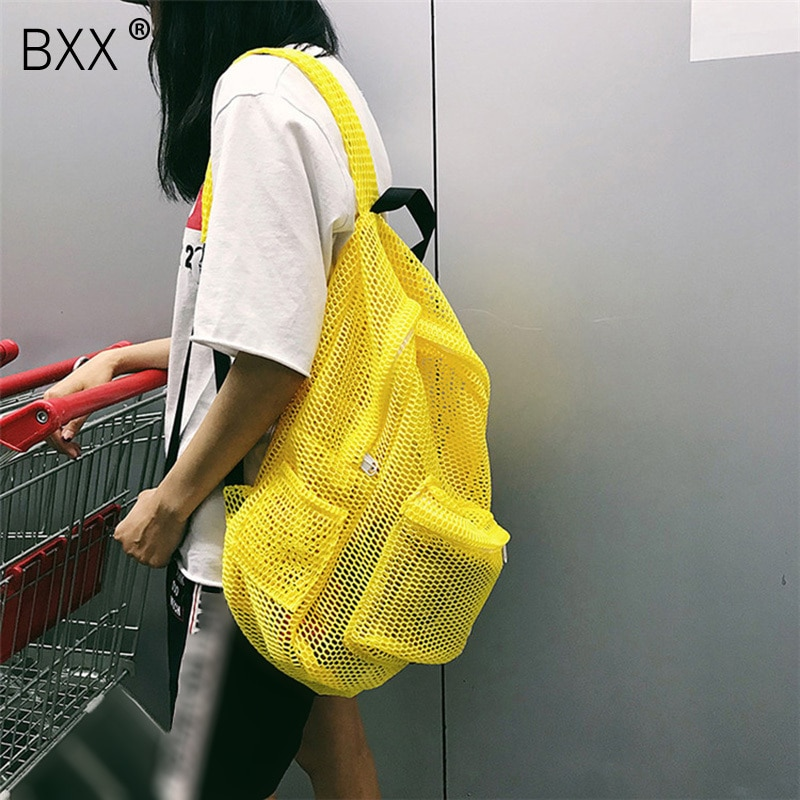 [BXX] 2021 Spring Summer New Stylish Yellow Red Color Double Straps Hollow High Capacity Light Zipper Backpack All Match LM672