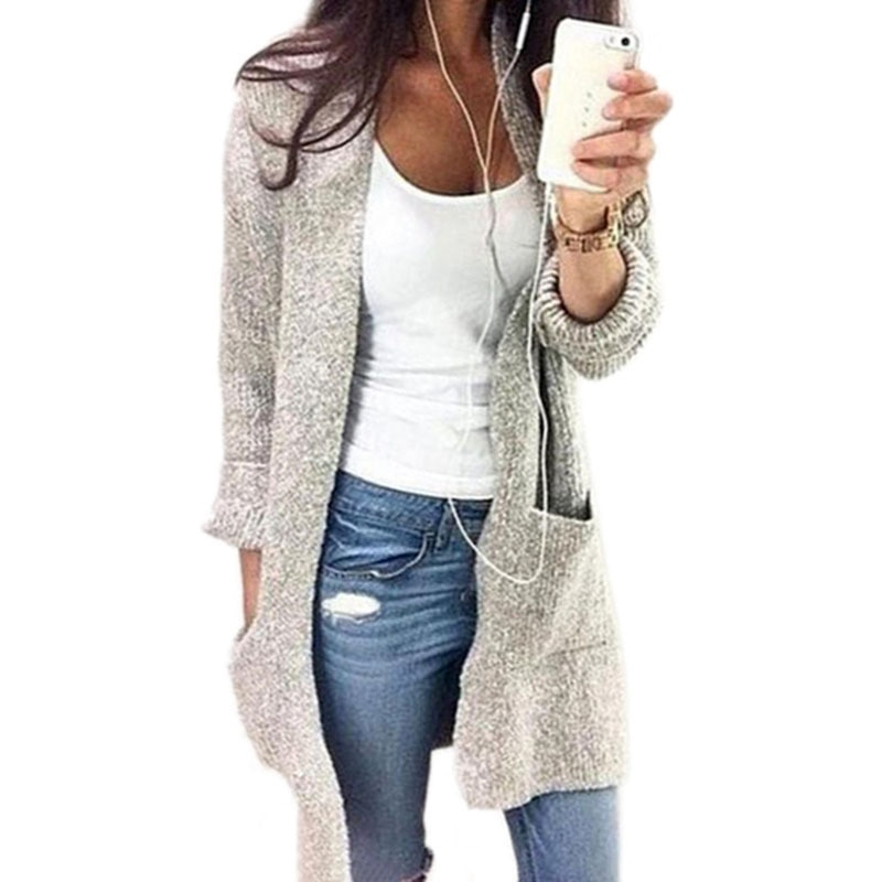 Свитер женский, свободный, зимний, с длинным рукавом и карманом
