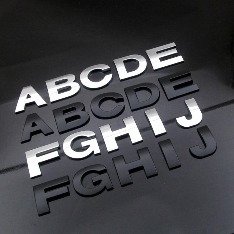 WL חדש 45 ו 25mm 3D DIY אותיות האלפבית סמל כרום ושחור רכב מדבקת דיגיטלי תג לוגו אבזרים אופנוע