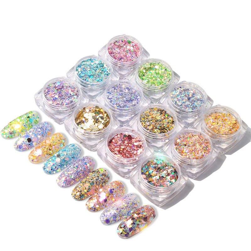 1 g/caja, novedades, polvo holográfico, confeti, camaleón, nube, lentejuelas irregulares para decoración de uñas, copos de lentejuelas, 12 colores