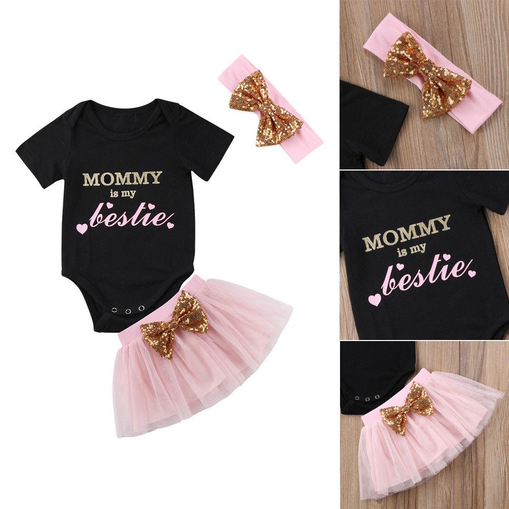 Pudcoco Girl Dress Newborn Baby Girl Romper+Tutu Dress Princess Party Pageant Outfits Set UK Stock