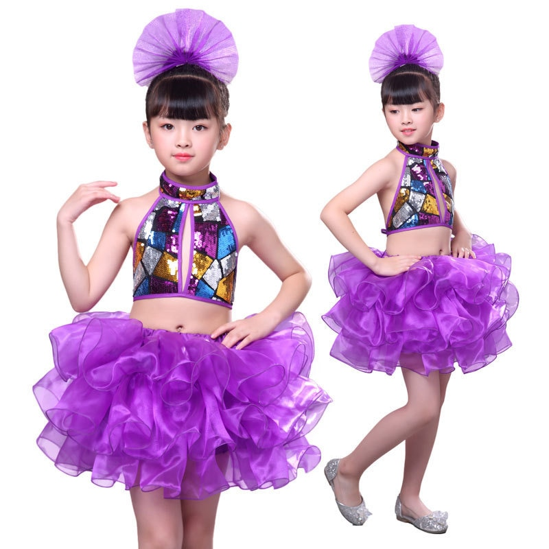 Vestido de actuación para niñas, falda Pengpeng de baile de jazz para niñas, vestido de baile de desfile de jardín de infancia, vestido de actuación de lentejuelas