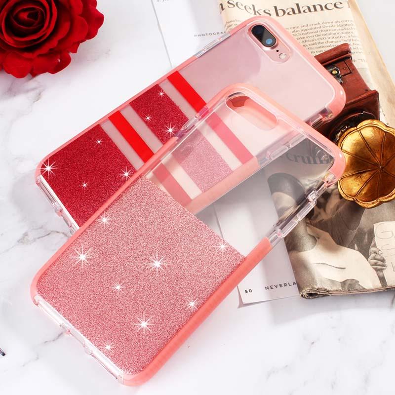 Stripe Glitter Phone Etui Coque Cover Case for iPhone X XS MAX 8 7 Plus Shock-Absorption Cover Anti-Scratch Clear Back Case