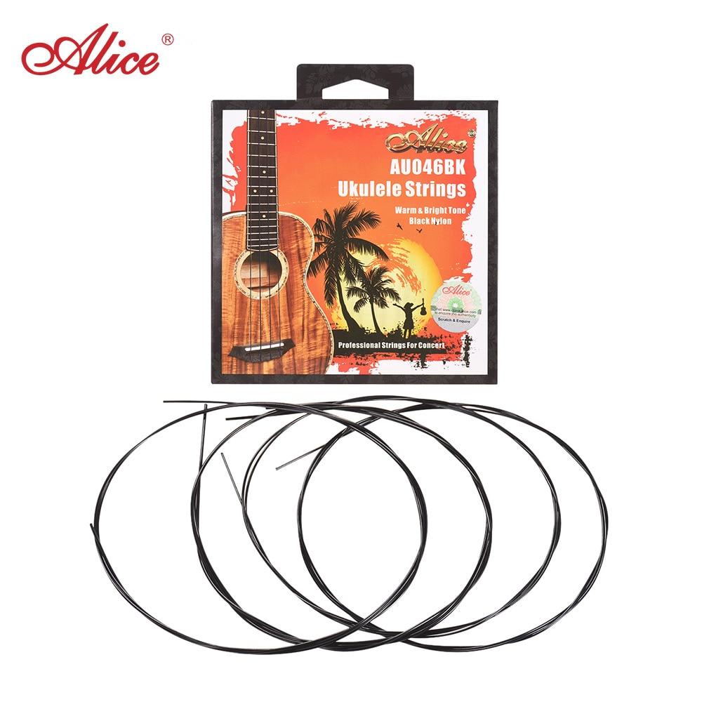 Juego de cuerdas de Ukelele Alice AU046BK 4 Uds (A-E-C-G), Nylon negro modificado para barítono/Soprano/Tenor/Ukelele de concierto