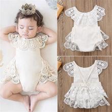 0-24 M Yenidoğan Toddler Bebek Kız Prenses Dantel Backless Romper Bebek Kız Sevimli Bebek Doğum Günü Elbise Beyaz Tulum