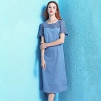 nordic winds summer womens lace hollow out denim dress summer 2019 solid slim dress women nw19b6090