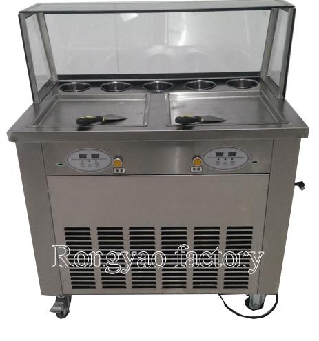 Máquina de rodillo de freidora de helado de 2 sartenes, máquina de control de computadora, rodillo de helado de pan, rodillo de helado laminado, máquina plana de helado frito