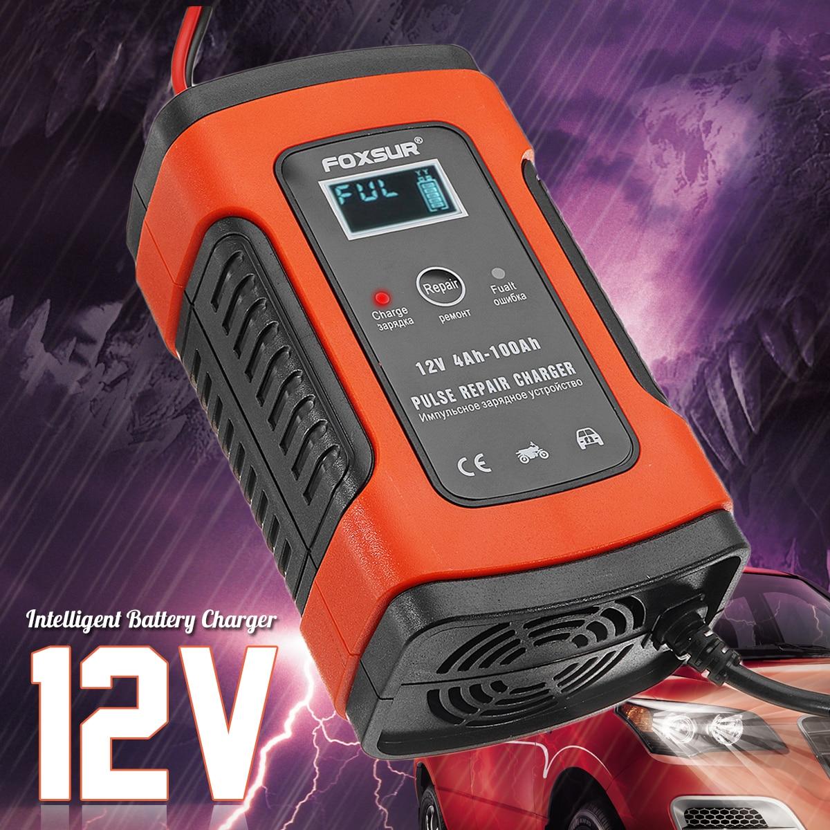 Cargador de batería de reparación 12V 5A pulso LCD para coche motocicleta Gel AGM ácido de plomo húmedo enchufe UE/EE. UU. Protección contra sobrecalentamiento restaurar vaciado