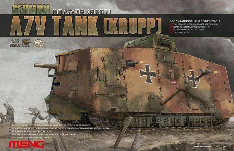 Modelo Meng, 1/35 TS-017, tanque alemán A7V (Krupp), raro