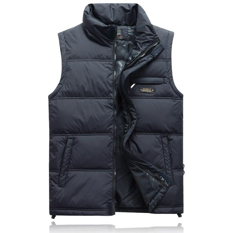 Мужская зимняя куртка на утином пуху, красная парка, Толстая теплая ветровка, куртка без рукавов, Классический Повседневный жилет для путеш...