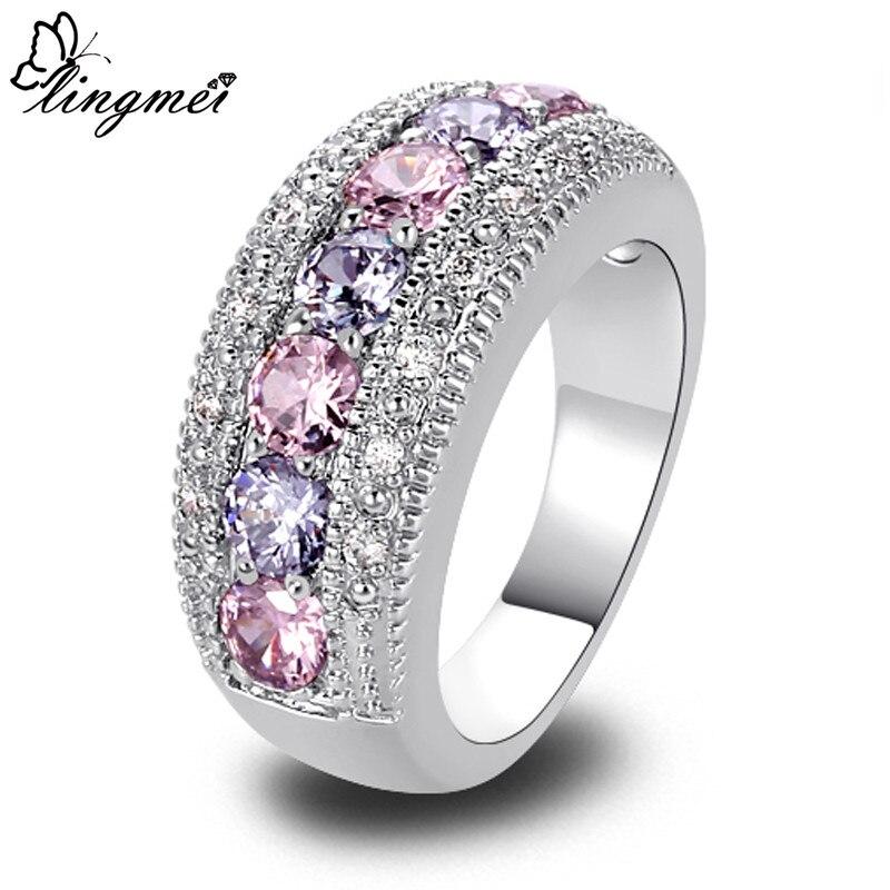 Lingmei DropShippng благородная Мода леди розовый кубический циркон Турмалин серебряный цвет кольцо Размер 6-10 11 12 13 романтические ювелирные изделия