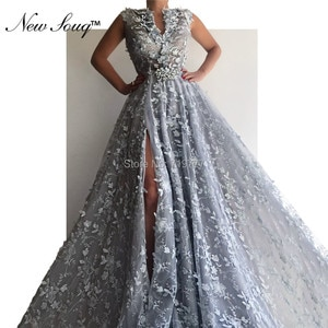 Pearls Beaded Evening Dress V Neck Party Gowns High Split Side Arabic Prom Dresses Middle East Formal Gowns 2019 Robe De Soiree