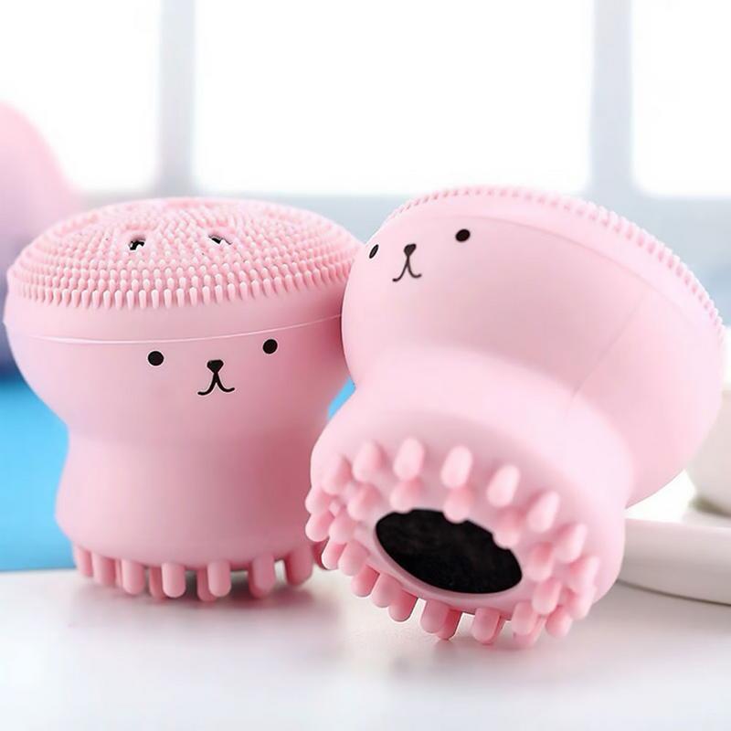 1 шт., милый розовый осьминог в форме медузы, силиконовая Очищающая пудра для лица, очищающая поры, щетка для ухода за кожей, щетка для ухода за лицом