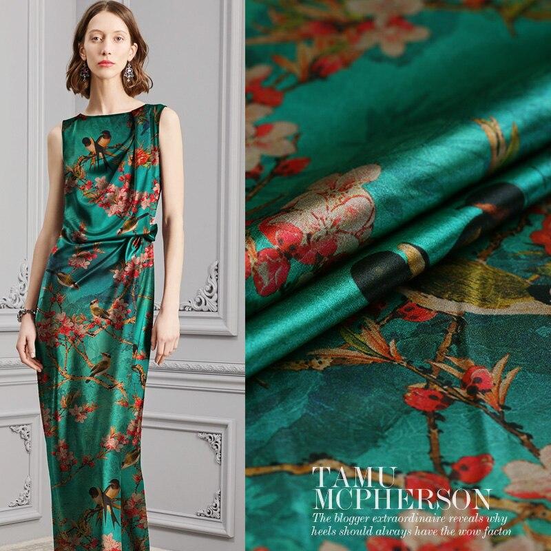Magpie play, flores rojas, tela digital pintada de seda elástica de satén, tela de gasa de Cantón para vestido tissu au meter brillante DIY