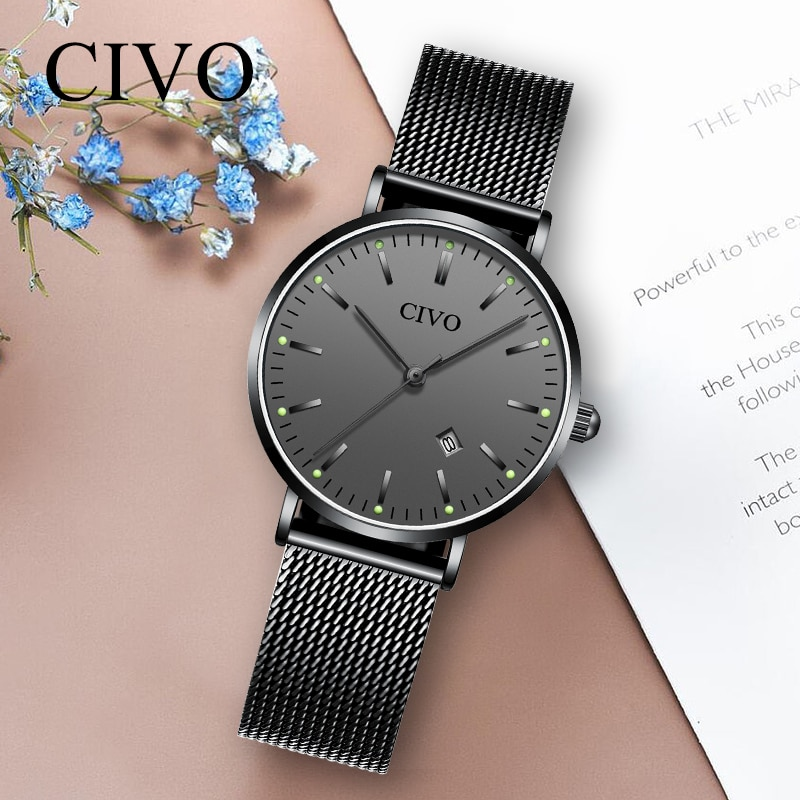 Relojes CIVO de lujo con diamantes de imitación, Relojes de cuarzo luminosos impermeables para Mujer, Relojes de malla de acero ajustados para Mujer