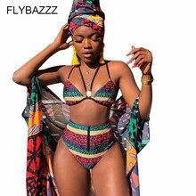Afrique maillot de bain tendance Sexy imprimer licou Bikini ensemble taille haute été Bandeau maillot de bain maillot de bain bikinis 2019 mujer 2 pièces ensemble