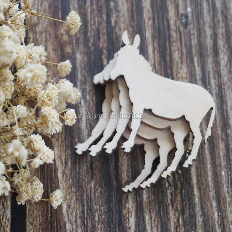 Corte de madera de burro, corte de madera, corte de madera, figura de madera contrachapada, corte láser, adornos de madera, decoración artesanal, Decoupage sin pintar