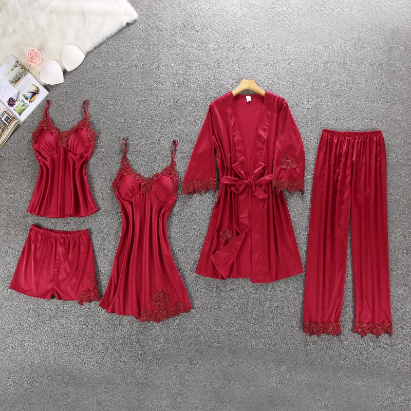 Pijama de seda para mujer, ropa para el hogar, Pijama de satén de 5 piezas, ropa de casa bordada, Pijama para dormir con almohadillas para el pecho