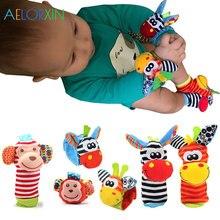 0-12 Months Cartoon Plush Socks Wrist Strap Rattles Animal Sock Foot Toy  Soft Rattle Gift Baby Toys