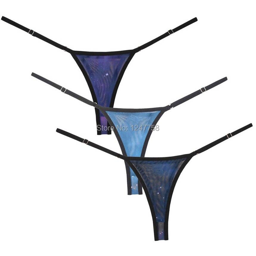 Roupa interior feminina intima ajustável cordas tangas sexy biquíni tanga céu estrelado malha t-back sous vetement femme sexy