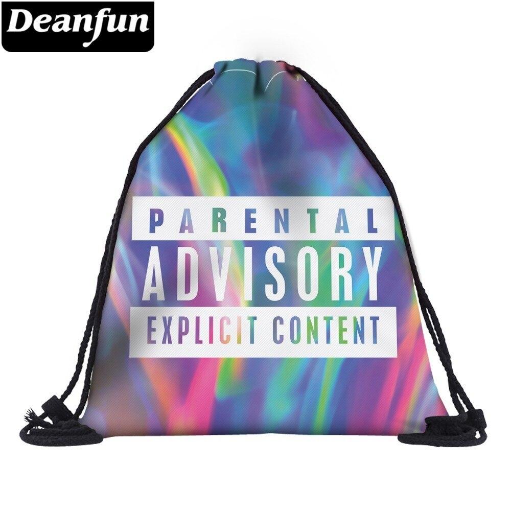 Deanfun Impressão Saco de Cordão 3D PARENTAL HOLOGRÁFICA Sacos de Viagem Mochila Softback Mochilas Presente Personalizado 38421