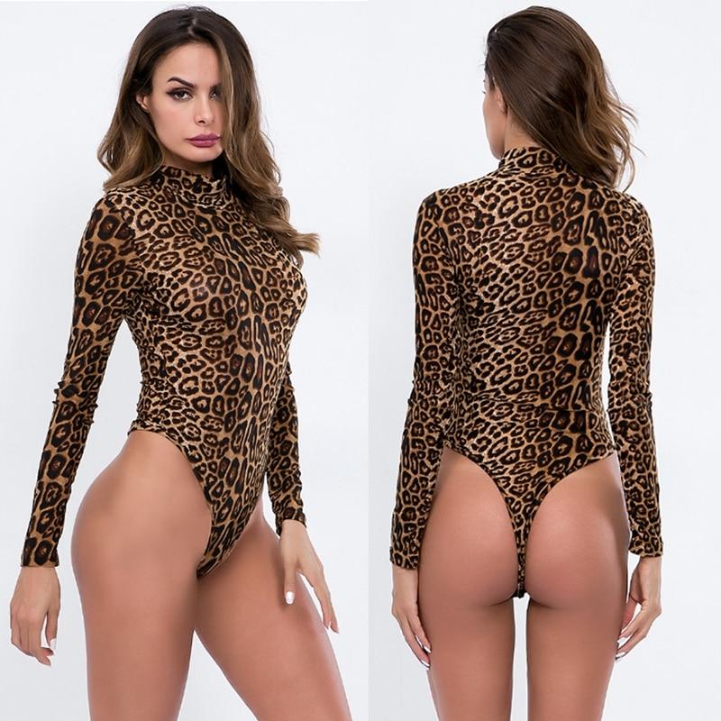 Sexy das mulheres manga longa leopardo impressão tartaruga pescoço bodysuit collant magro superior plus size