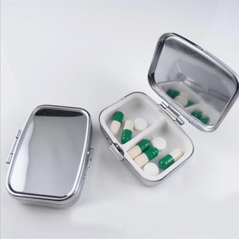 16 unids/lote de Metal de plata píldora cajas soporte 2 redes medicina caso pequeña portátil caso contenedor divisores de atención de la salud MR050