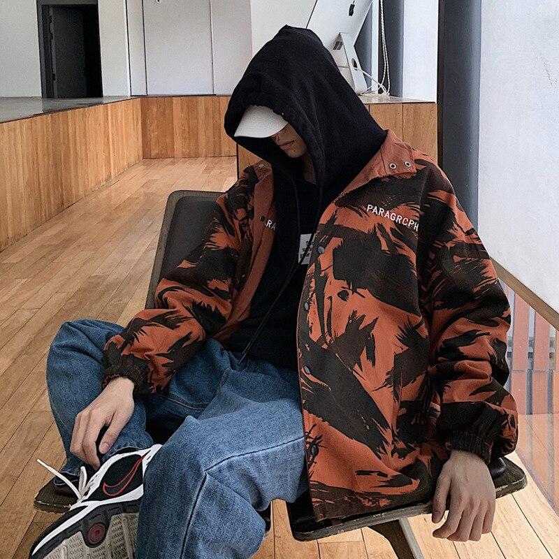 2019 Primavera Outono Novo Padrão Marca Tendência Magro Ocasional dos homens Quentes Roupas Da Moda Coreana Solto Camouflage Jaqueta de Ambos Os Lados