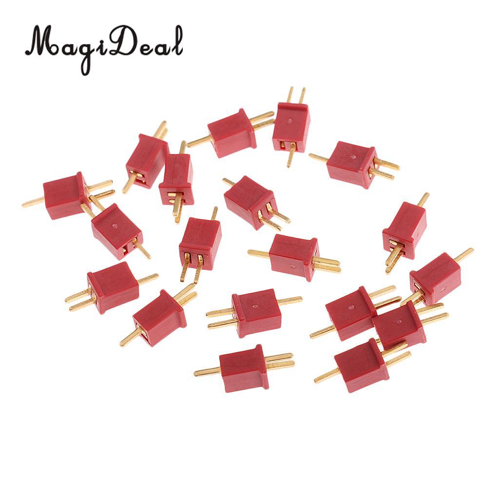 Magideal 10 pares ultra mini t plug deans conectores micro deans plug deans para rc lipo nimh bateria esc peças de motor