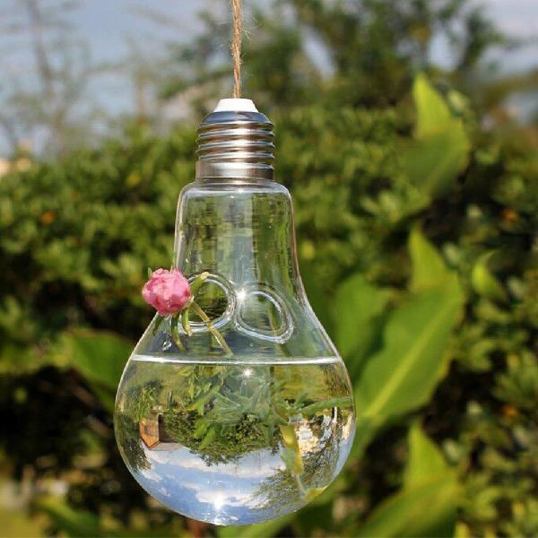 Adeeing planta de vidrio forma de bombilla hidropónica terrario contenedor Retro maceta decoración hogar