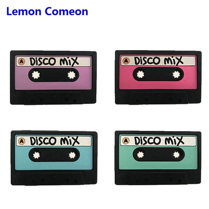 Lemon Comeon 1 unidad cinta magnética patrón bebé mordedor Disco silicona cuentas de dentición BPA Cadena de chupete DIY mordedor de silicona
