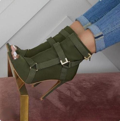 Botas de pista verde do exército fivela cinta saltos finos gladiador meia tornozelo botas peep toe feminino vestido de banquete sapatos personalizados