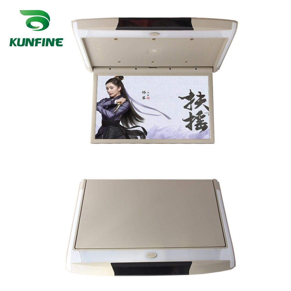Monitor LCD abatible hacia abajo para techo de coche de 17,3 pulgadas, pantalla Multimedia para techo de Video, pantalla incorporada con transmisor USB IR/FM