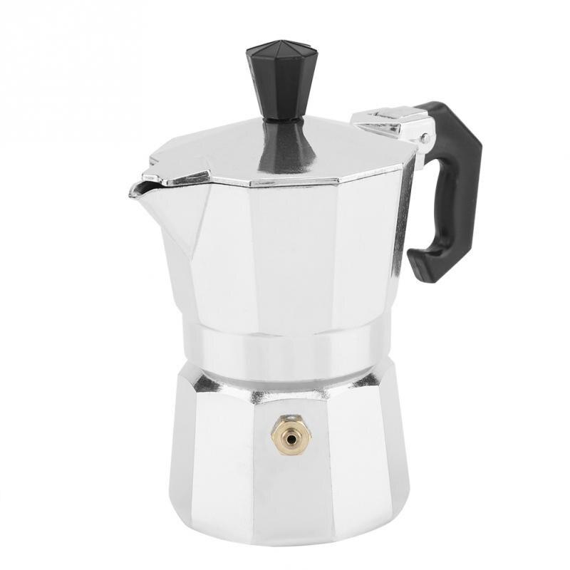 Кофеварка Moka, алюминиевая кофеварка для приготовления французского мокко, эспрессо, ручная кофеварка, 1 чашка, 50 мл, 1 чашка