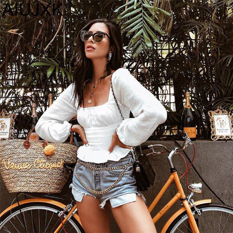 AIUJXK 2019 primavera moda mujer volantes camiseta blanca moda manga larga Camiseta cuello cuadrado camiseta Casual Mujer Tops ropa