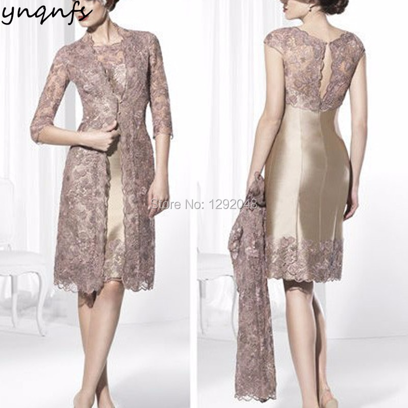 YNQNFS M92 Sheat Satin Two Piece Mother of the Bride Gown with Lace Jacket Groom Outfits Champagne W